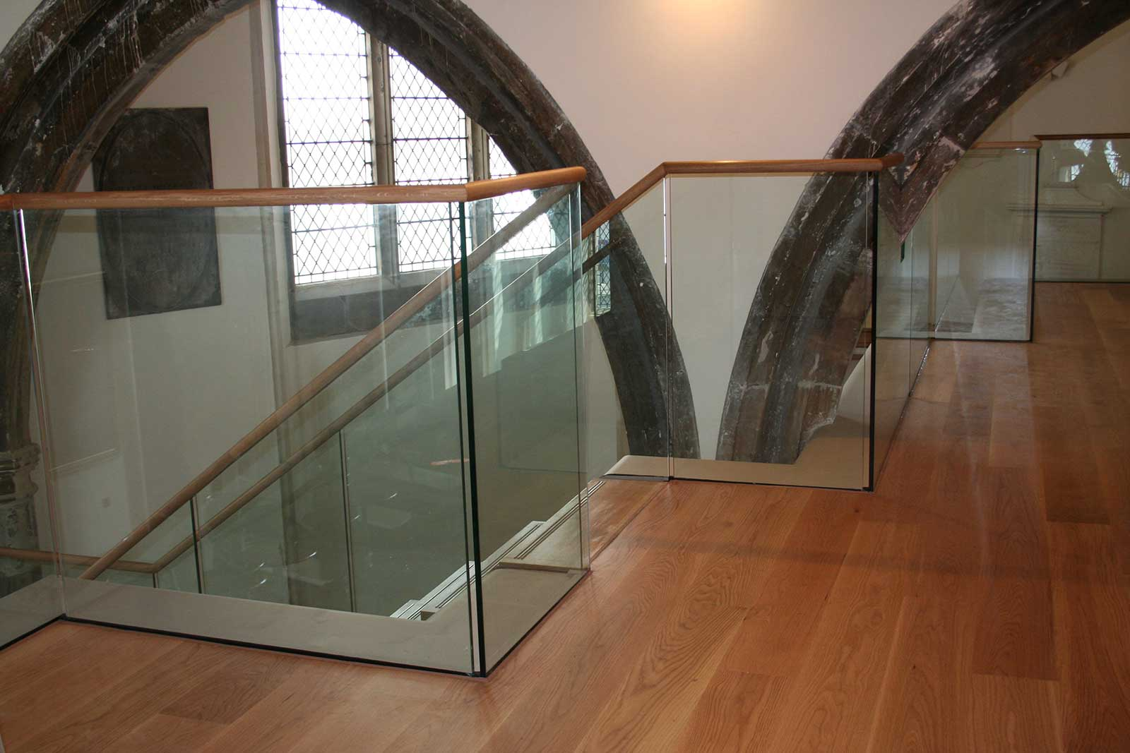 Glass Balustrades with Bespoke Oak Handrail, St. Clement's Church Hastings