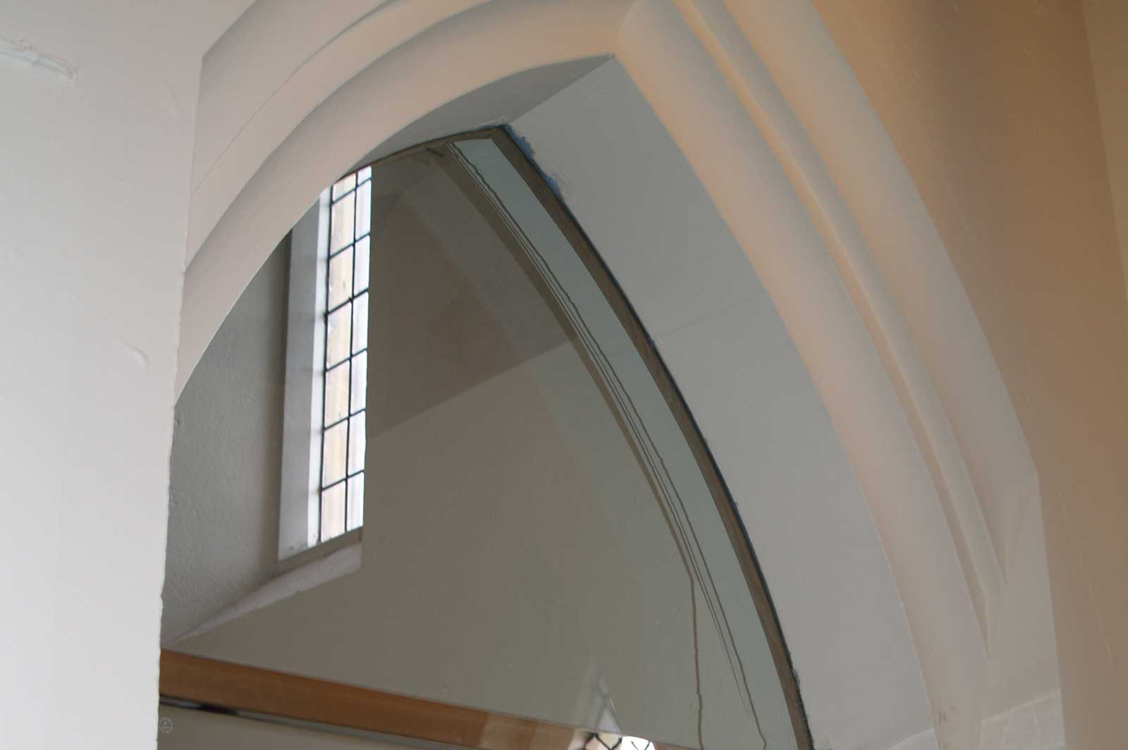 Church Glass Door with Arched Header Door Panel