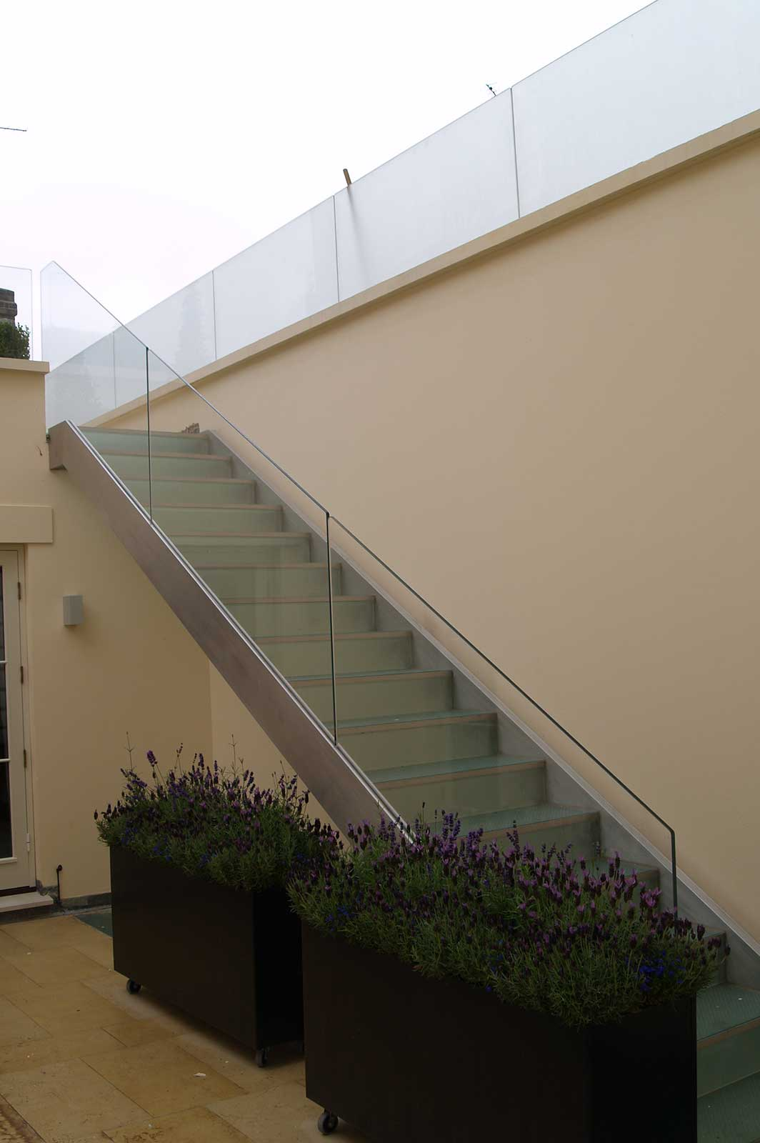 External Staircase Glass Balustrade Courtyard