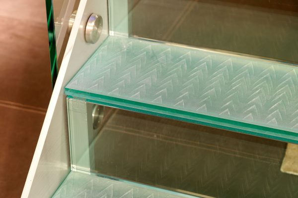 Glass Stair Treads with Metal Interlayer