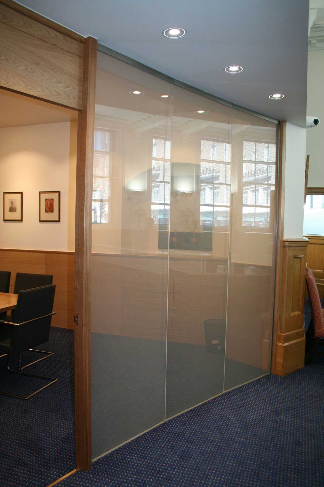 Opaque custom glass wall with switchable colour