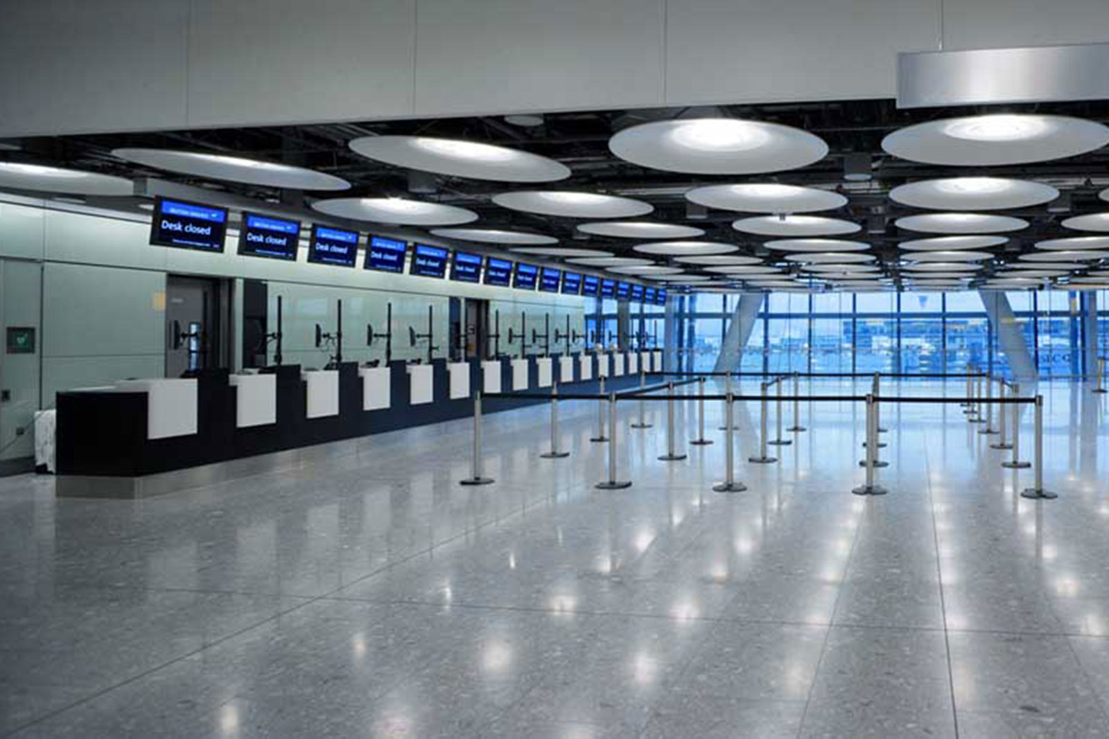 Coloured Glass Wall Cladding, Terminal 5 Check In