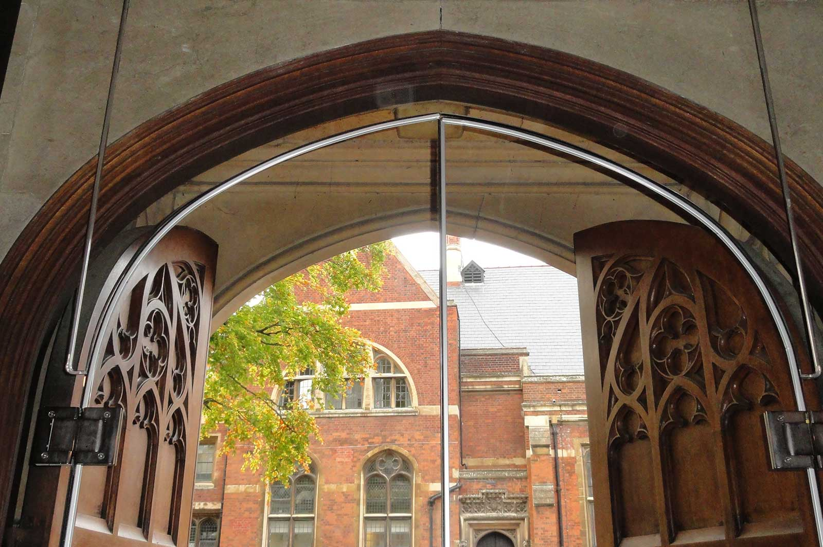 Arched Glass Entrance Doors, The Leys School Cambridge