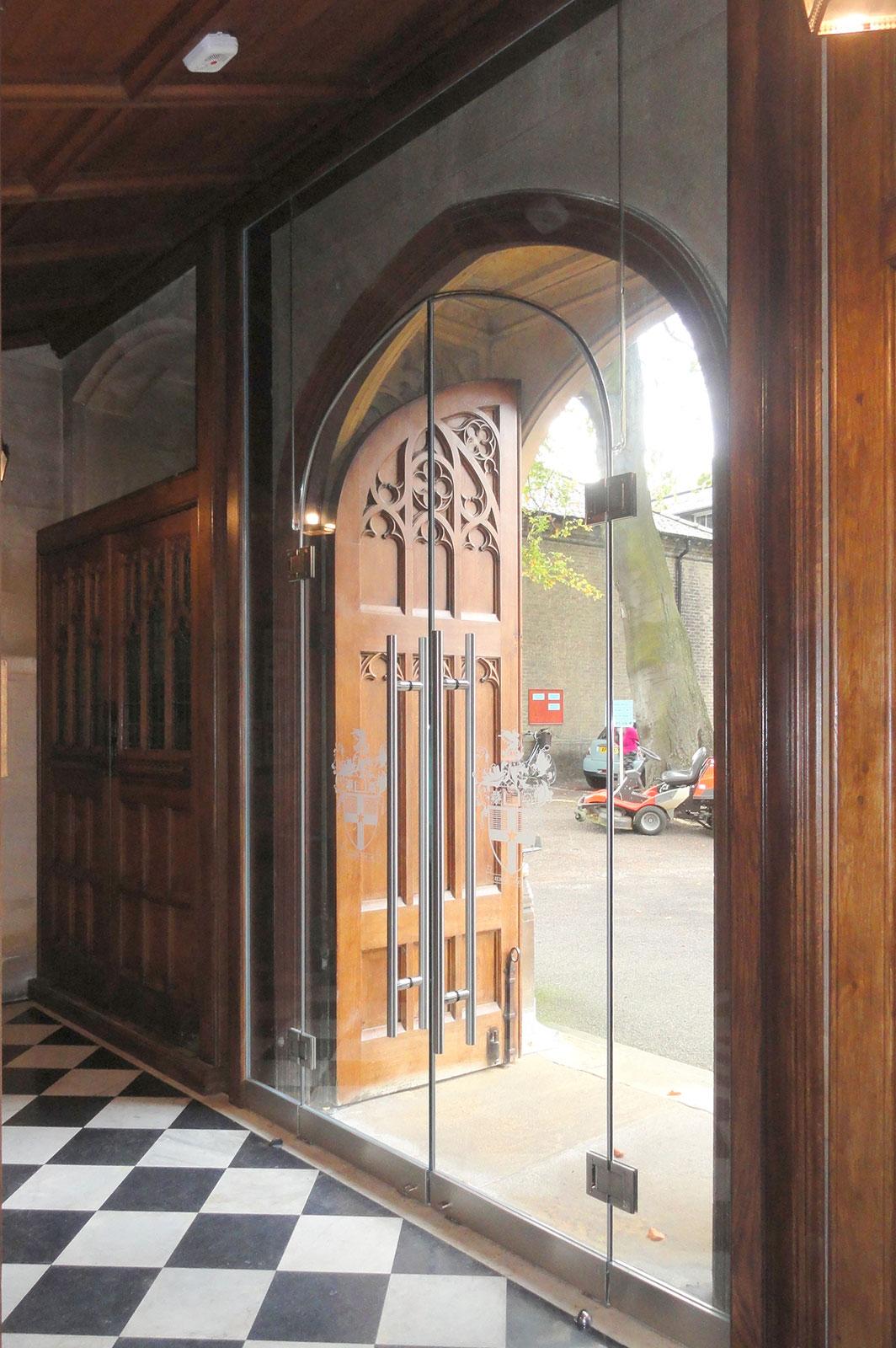 Arched Top Glass Doors, Leys School, Cambridge
