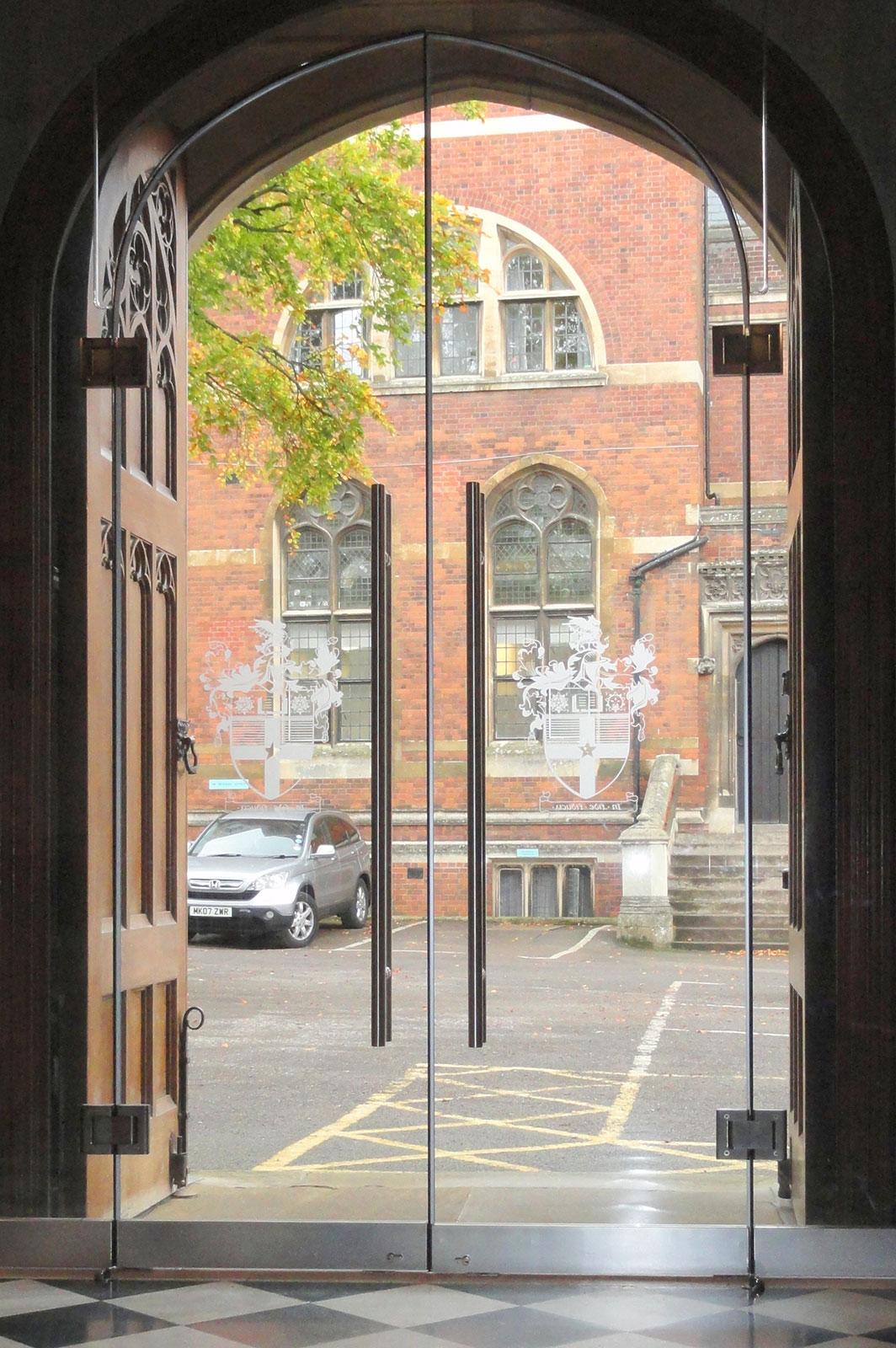 External Arched Glass Doors at Leys School Cambridge