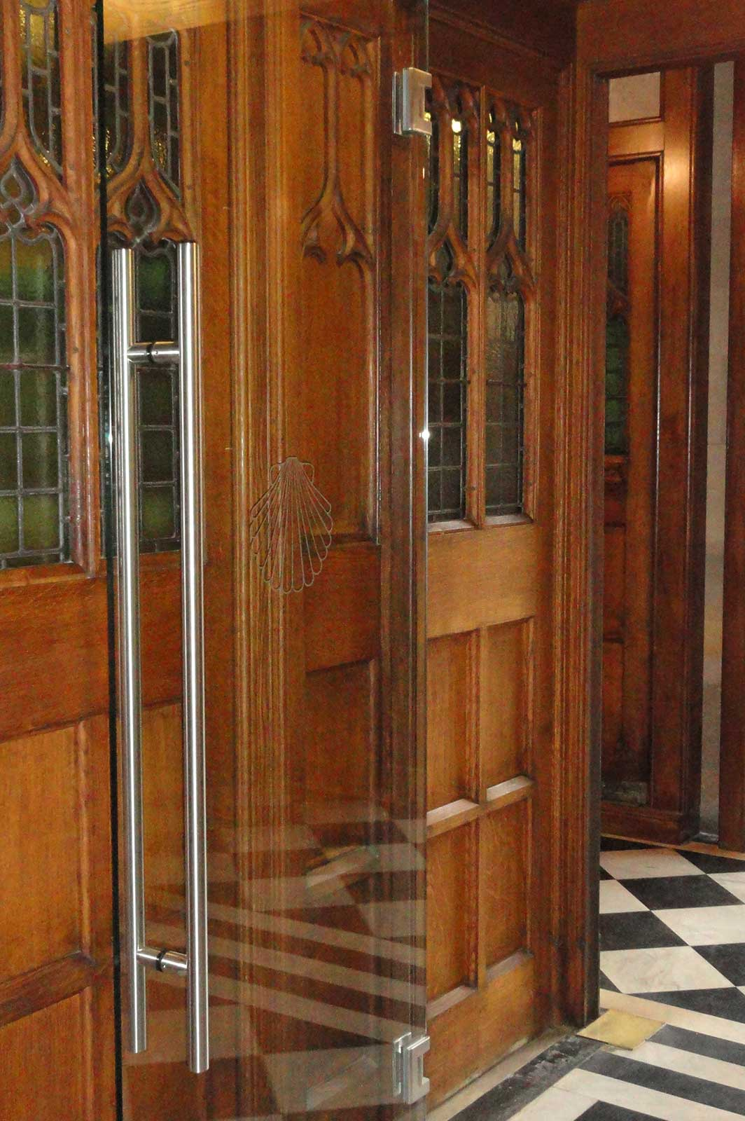 Bespoke Glass Door set into Original Wooden Frame