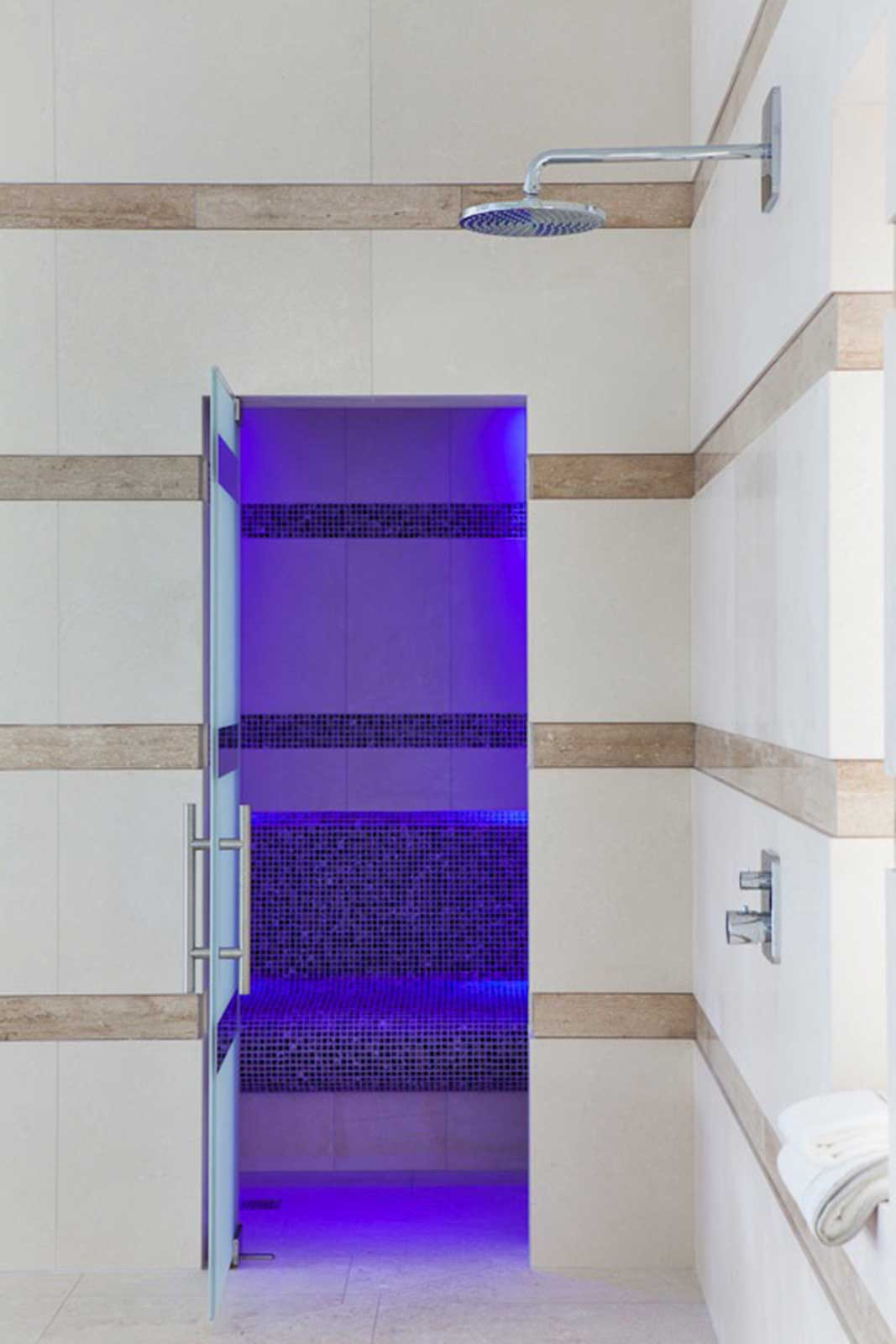 Frameless Striped Glass Shower Door, with Lighting