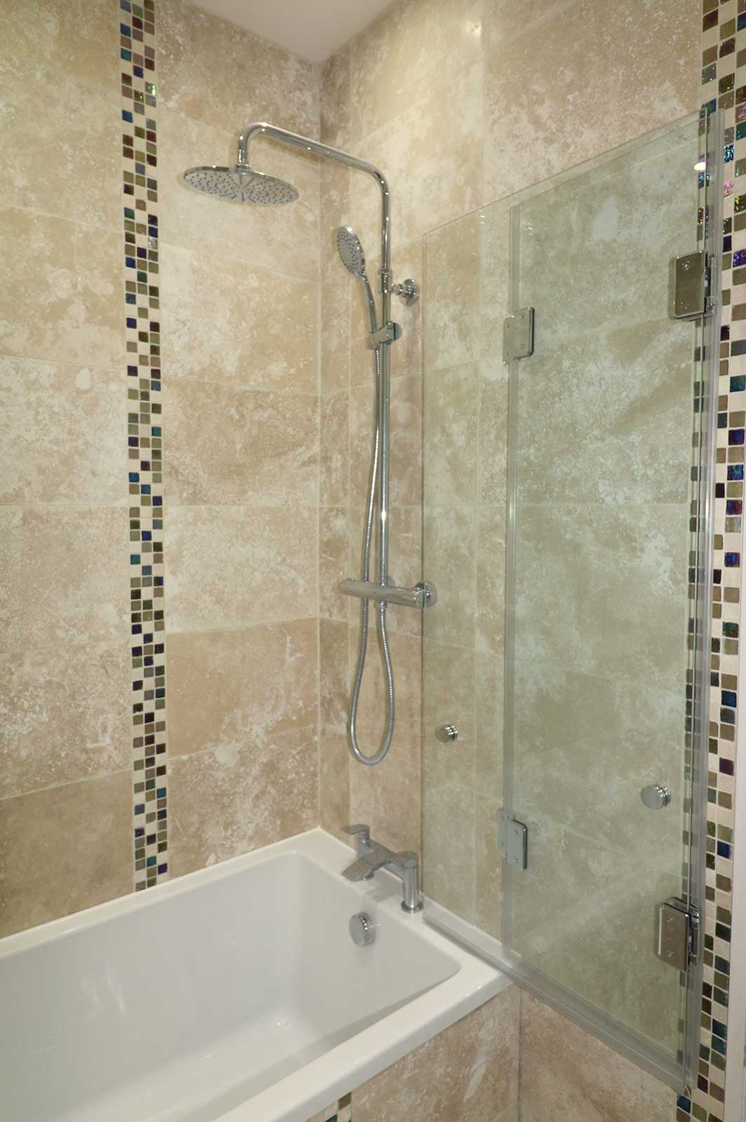 Bespoke Bi-Fold Bath Screen Folded Flat to Wall