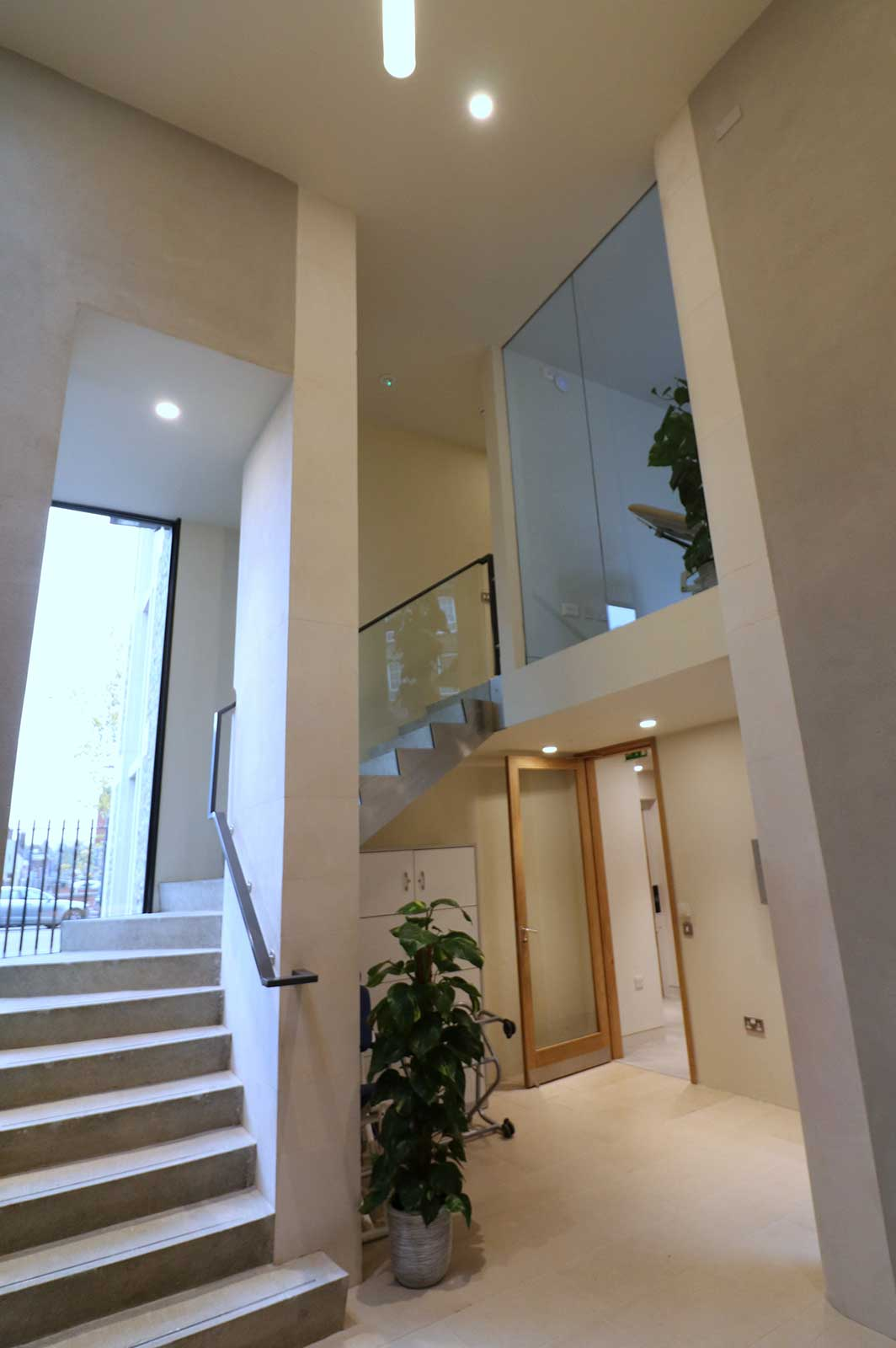 Glass Staircase Balustrades leading to Glazed Meeting Room