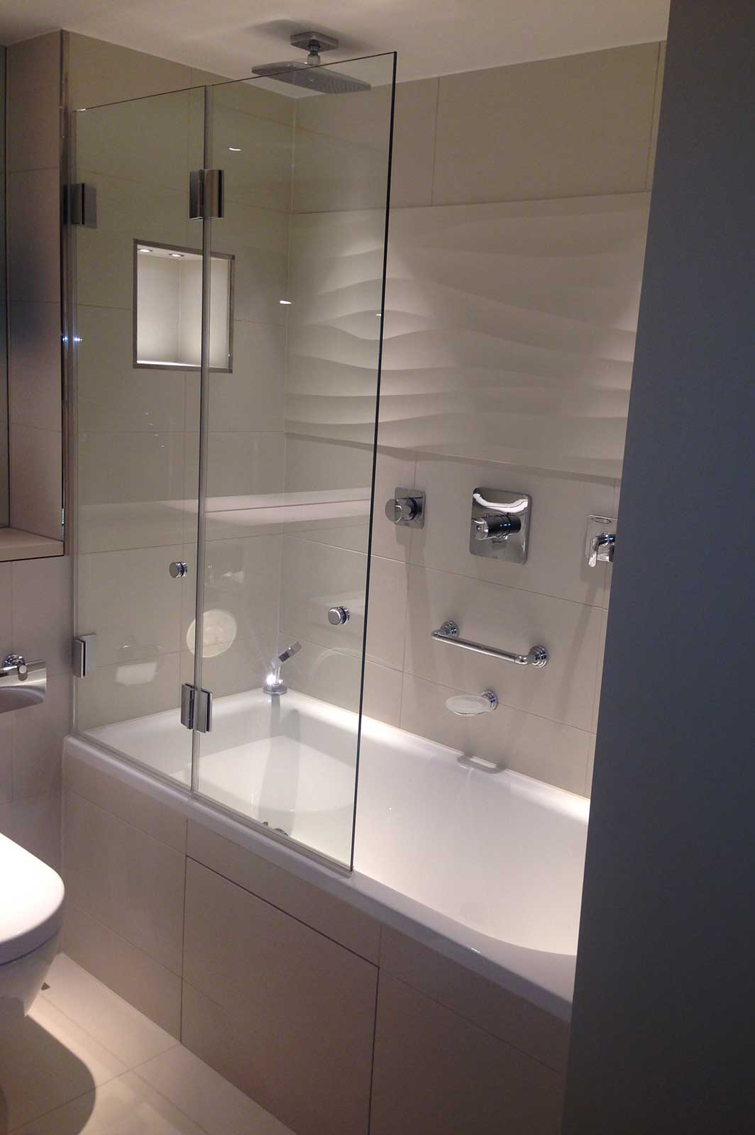 Bespoke Folding Bath Screen Unfolded