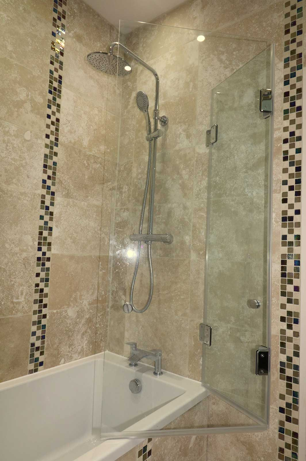 Folding Frameless Shower Screen Fitted Over Bath