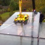 Glass Rooflight installation craned in to position