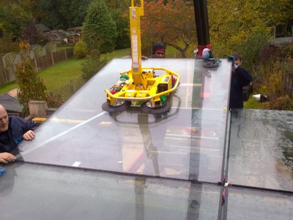 Installing Glass Rooflight Panels Using Crane