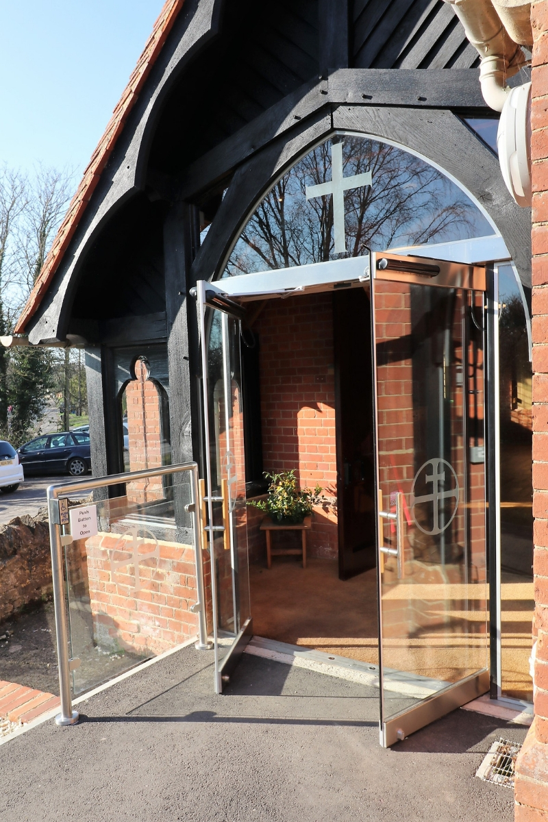 Automatic glass doors at Holy Trinity