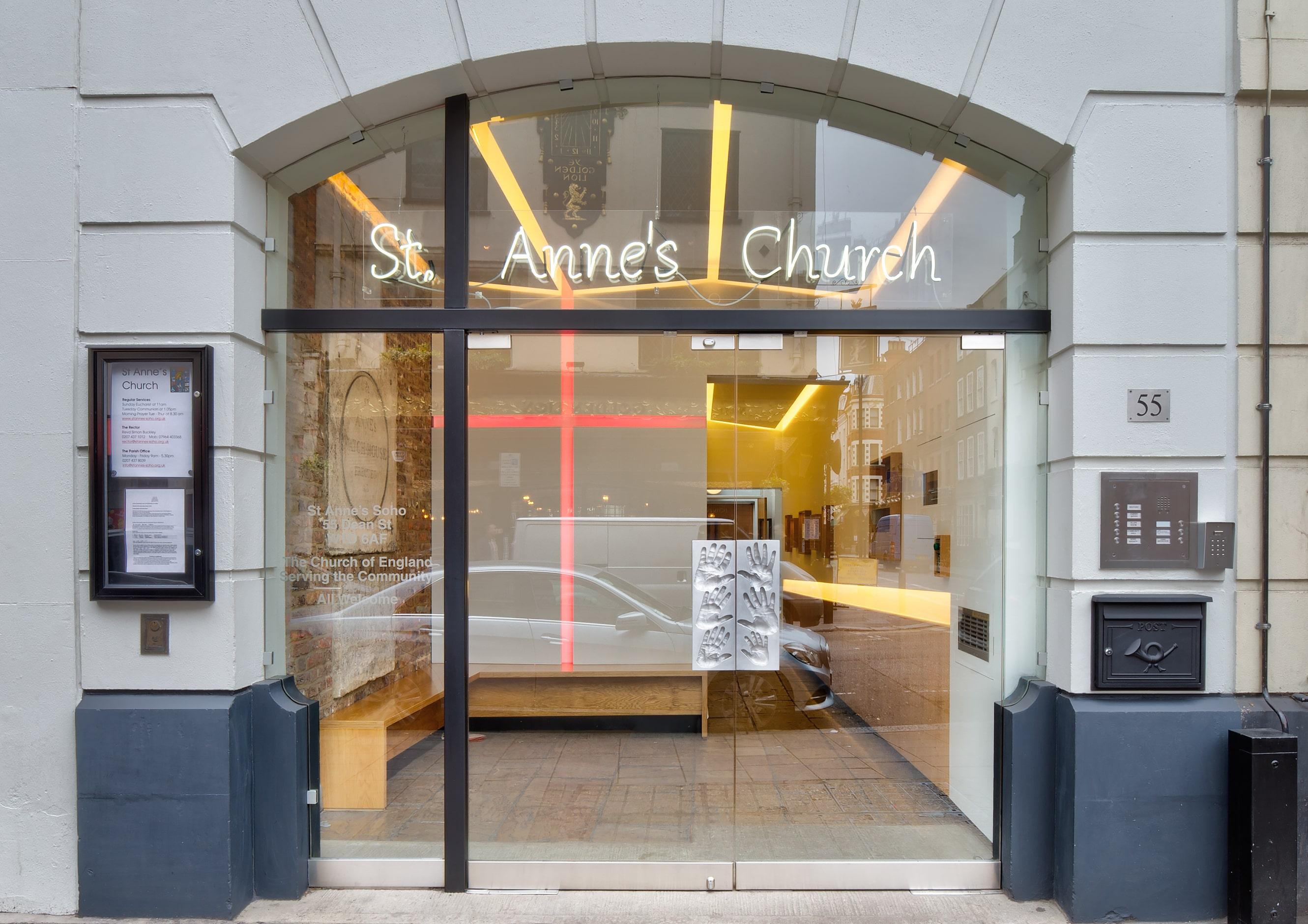 Bespoke frameless double glass doors st. anne's church soho