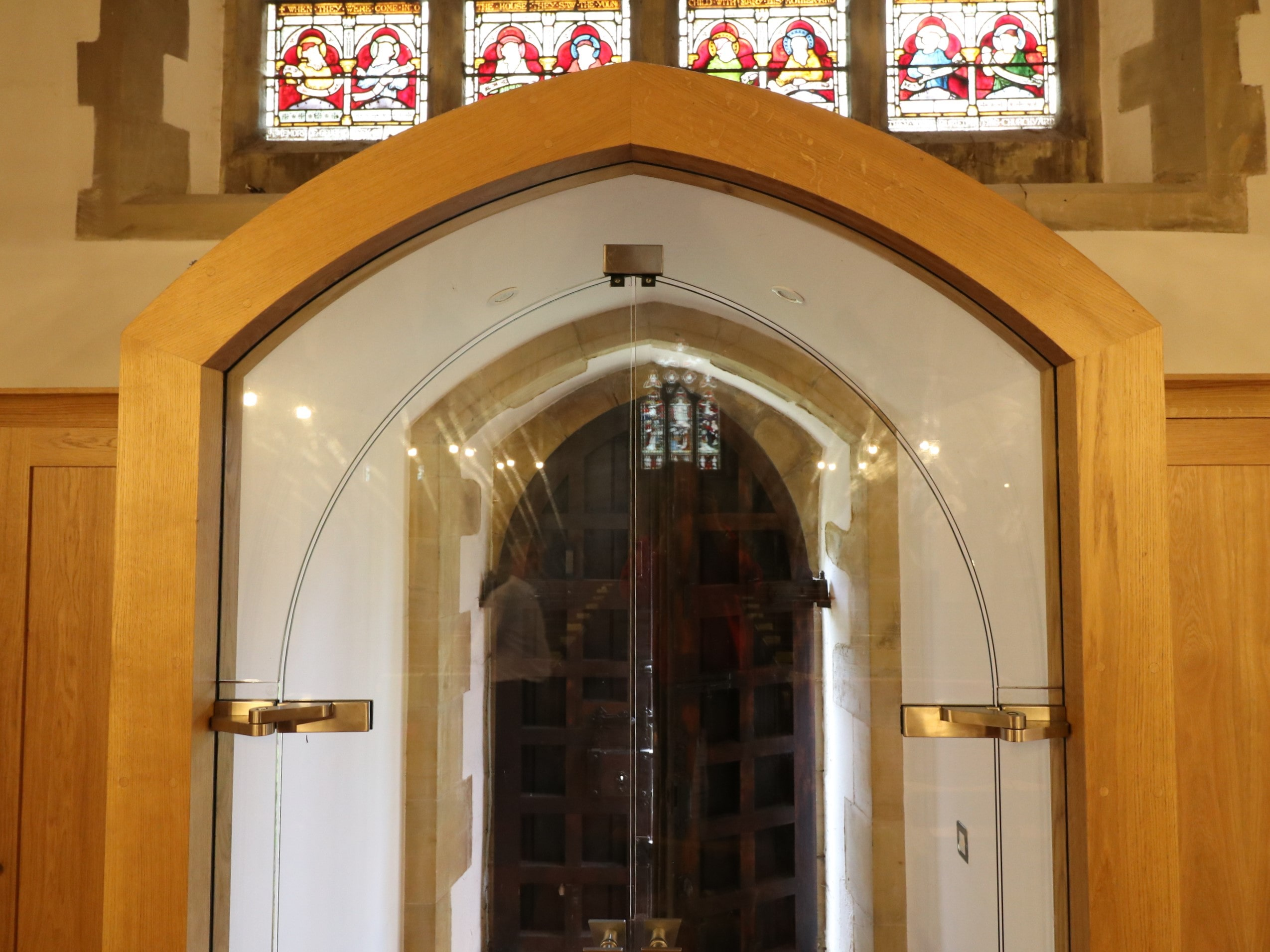 Complex glass overpanel to glass door st-marys balcombe