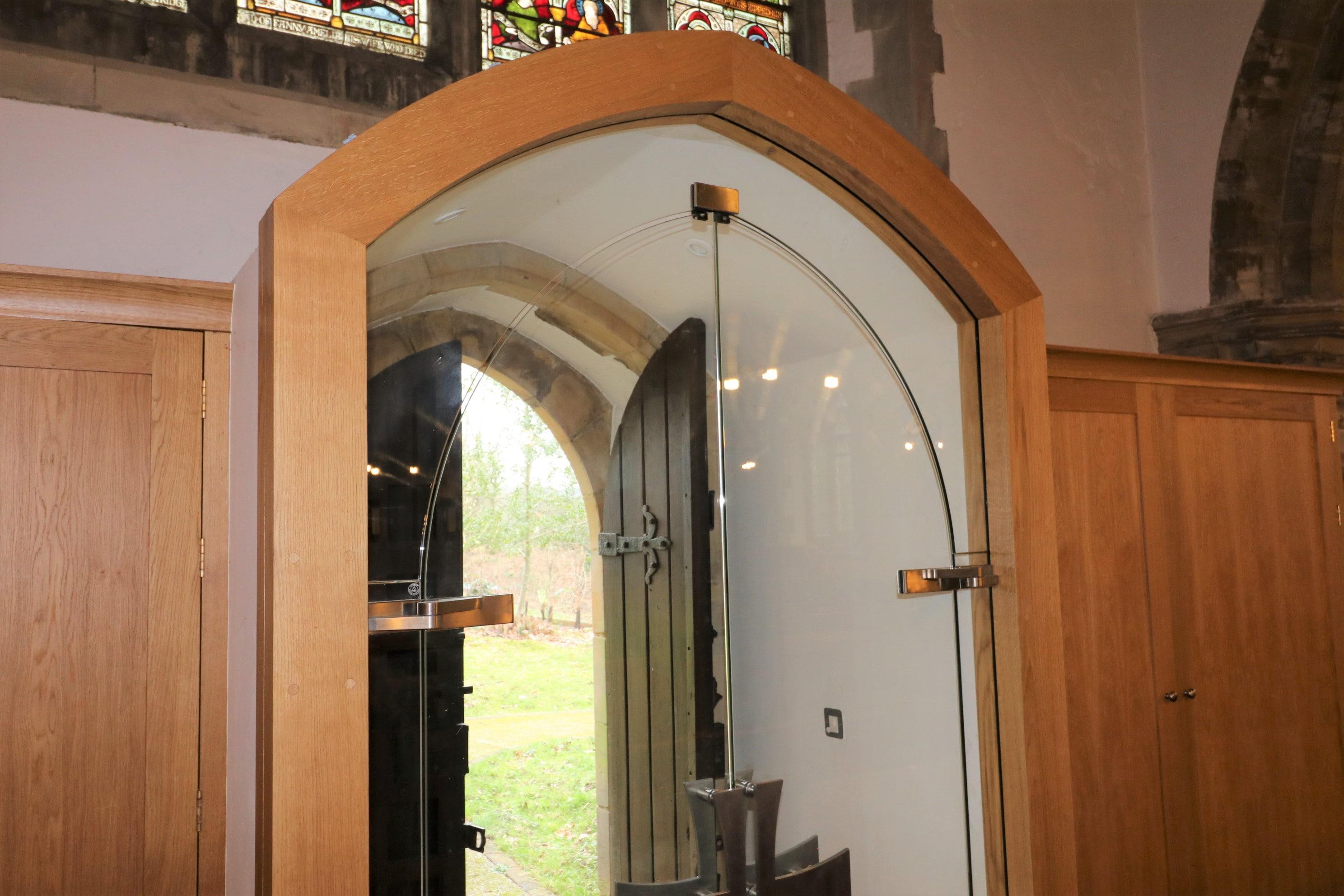 Frameless custom glass doors at St Marys Balcombe