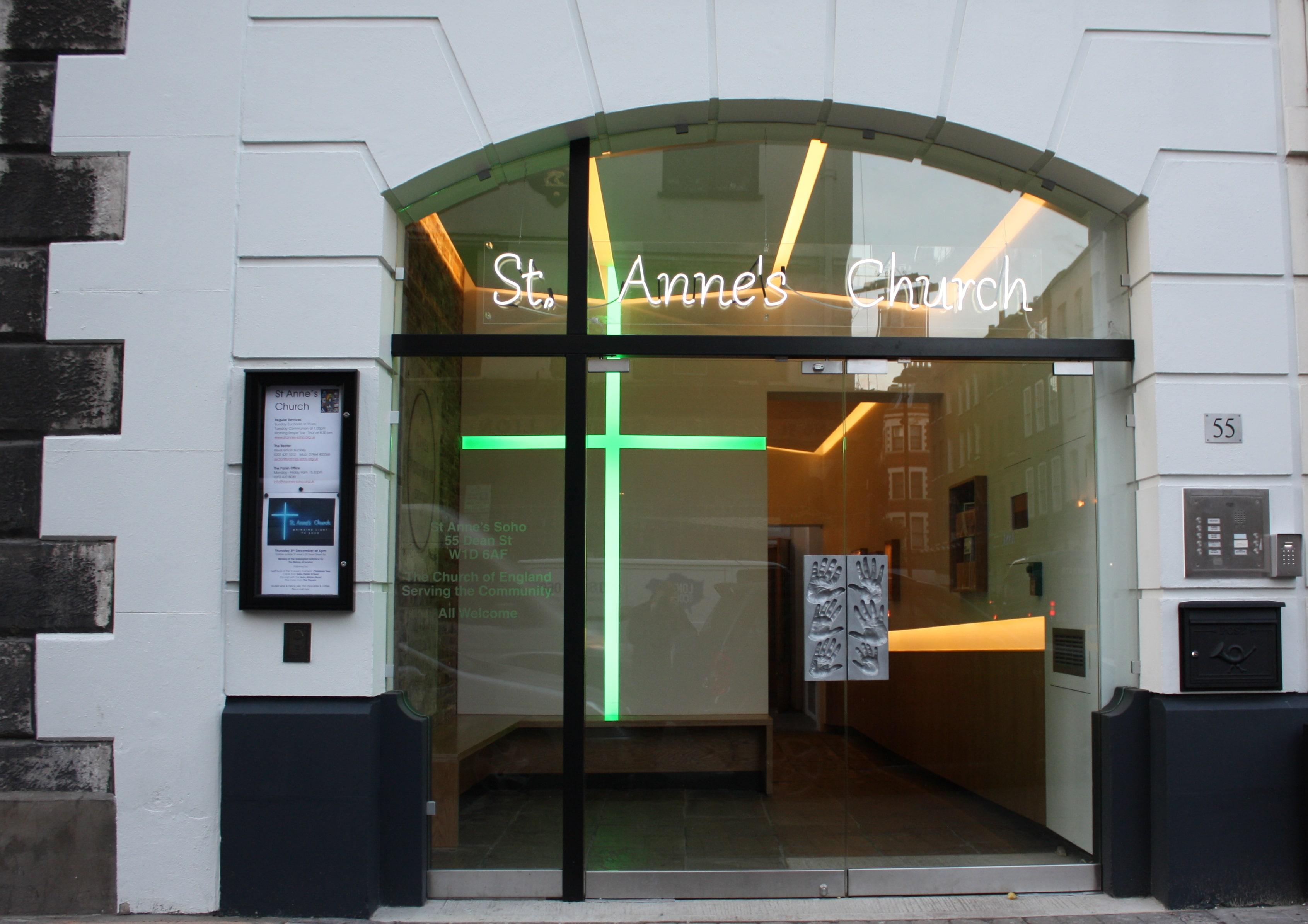 Frameless double glass doors bespoke frame st. anne's church soho
