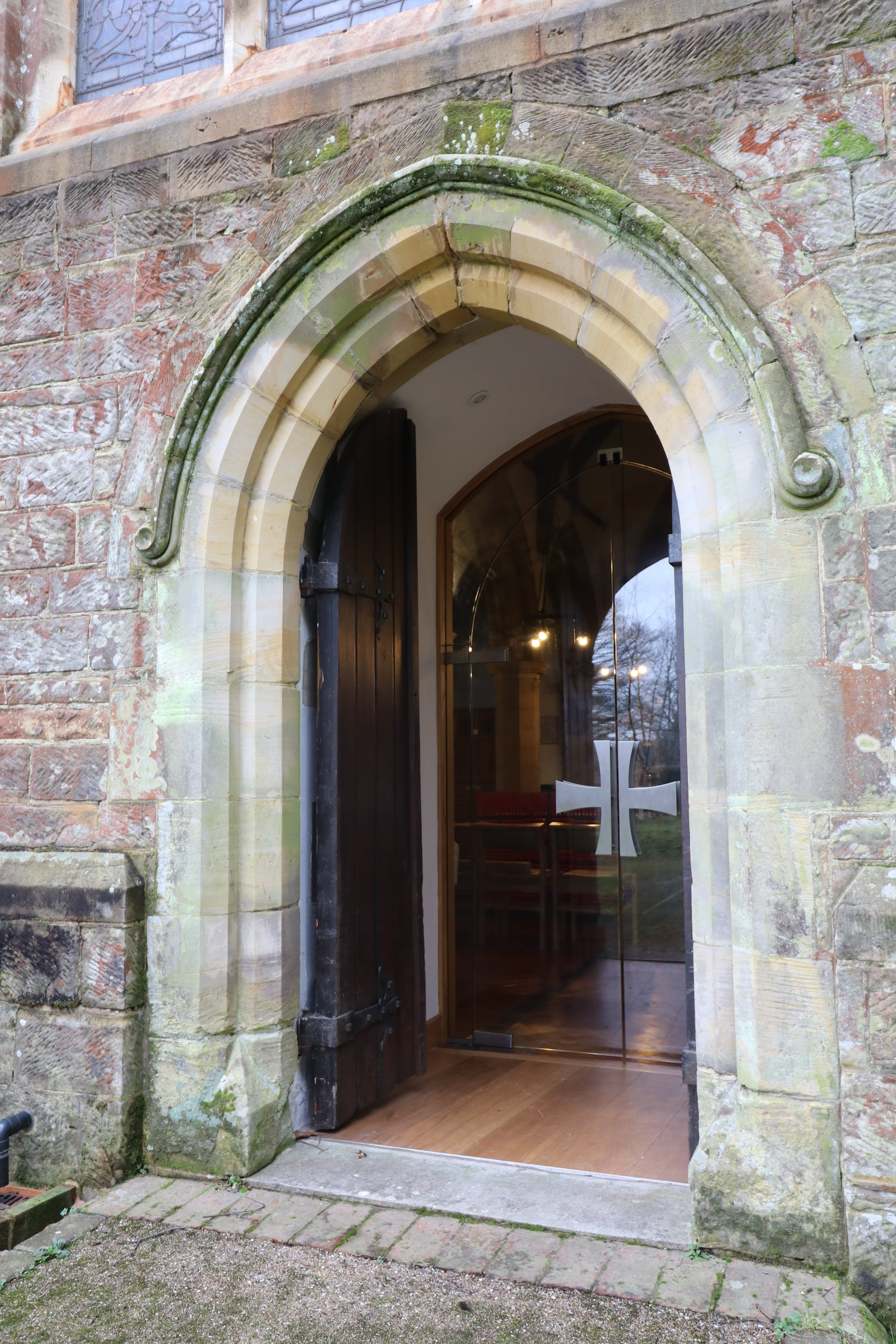 Internal glass doors to West entrance at St Mary's Balcombe