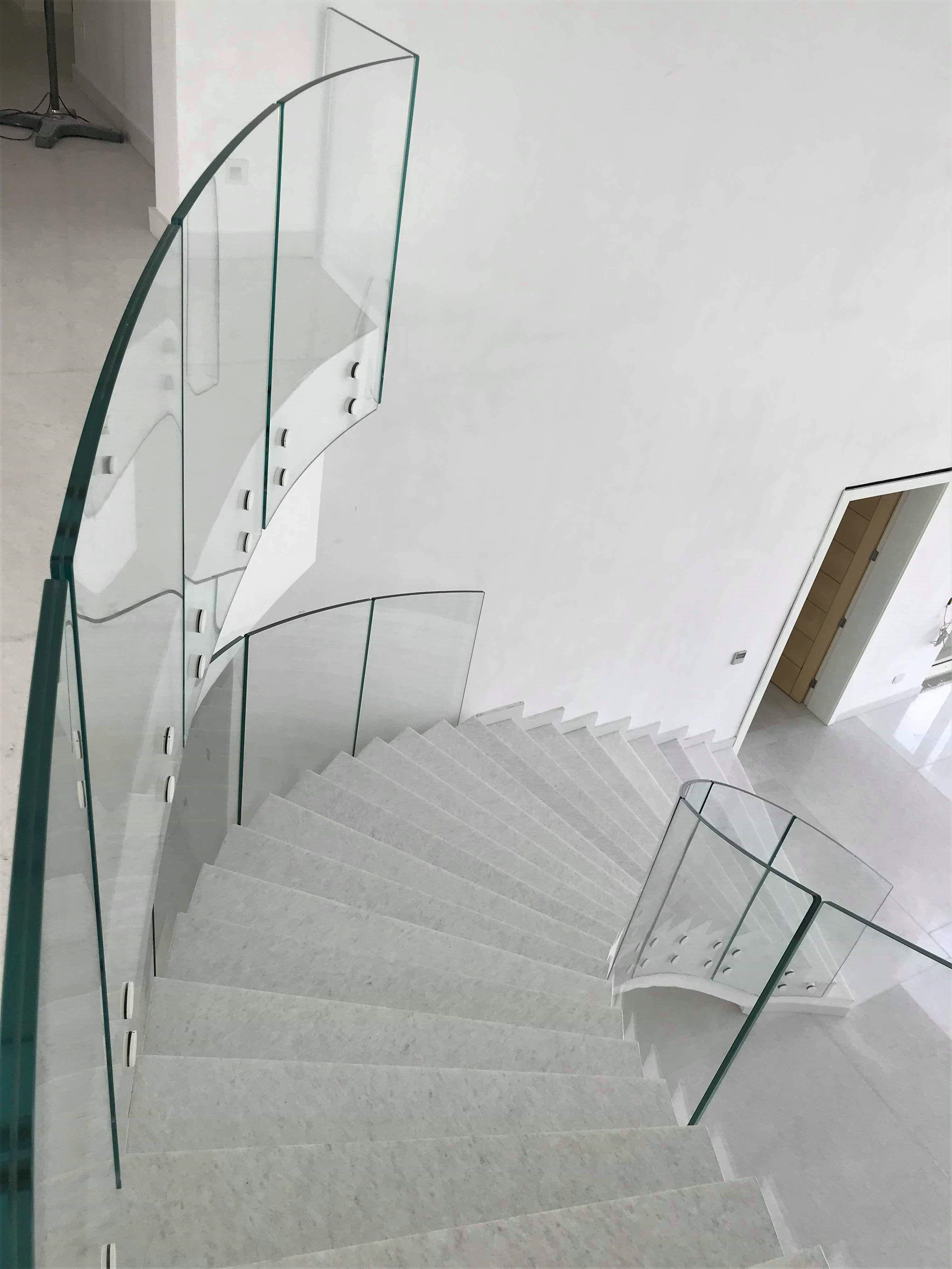 Bespoke frameless curved glass balustrade