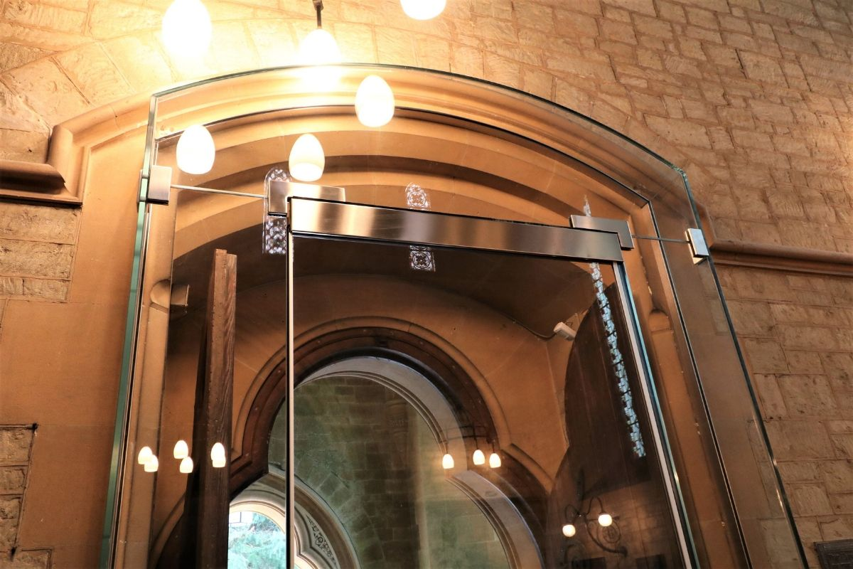 Bespoke glass entrance to St Marys church Kippington