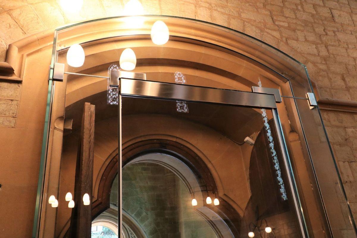 Custom glass overhead transom St Marys Kippington glass entrance