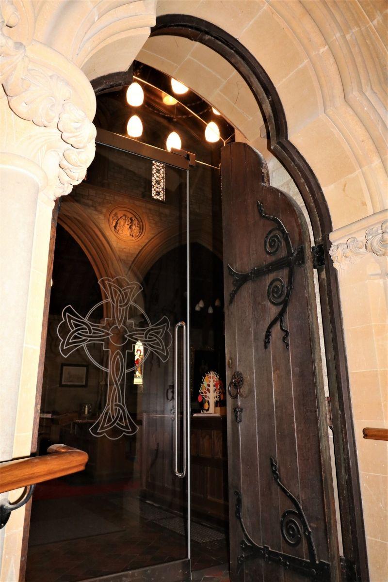 Custom shaped glass doors to St Marys Kippington church