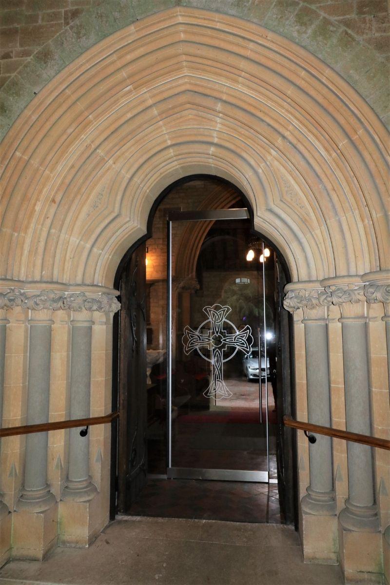 Glass door with custom glass design at St Marys Kippington church entrance