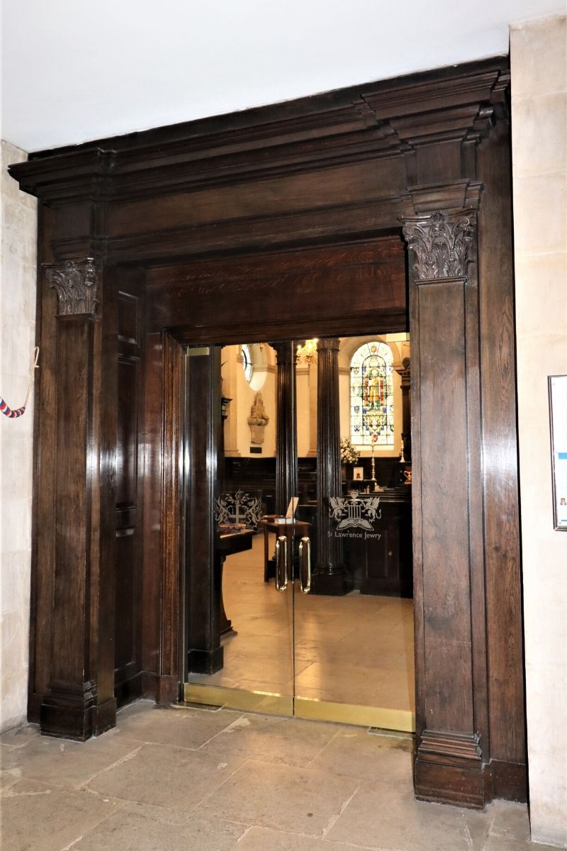 Double internal glass doors set in to wood frame, St Lawrence Church