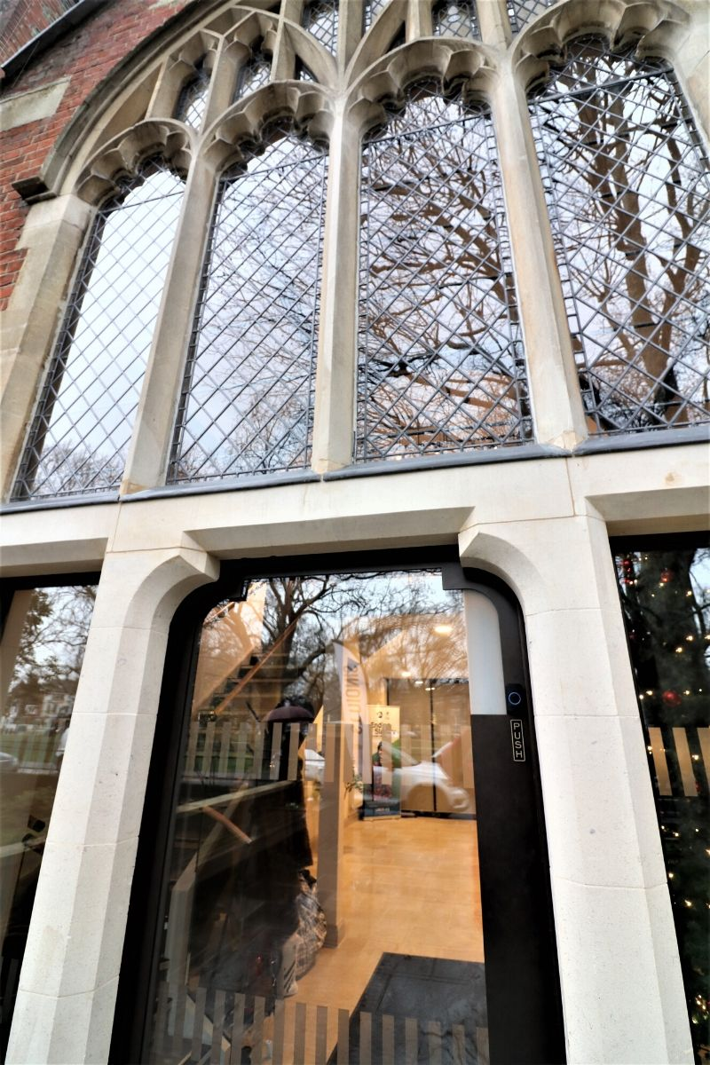 Custom external glass door with designs installed at St Dionis
