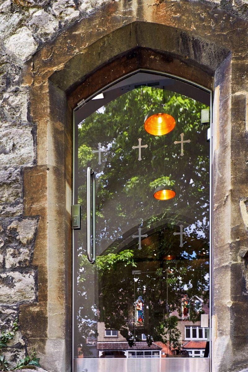 External glass door with custom designs, St Mary Church