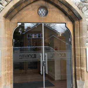 External secure glass doors St Mary Church